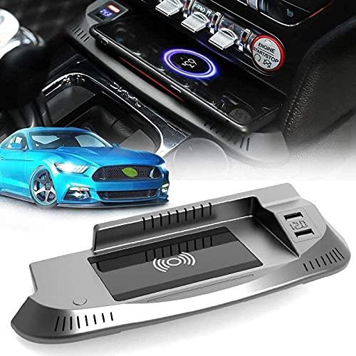 Cargador Coche Inalámbrico para 2021 2020 2019 2018 2017 2016 2015 Panel Accesorios Consola Central Ford Mustang,Cojín del Cargador Teléfono Las Carga Rápida de 15W con El Puerto USB QC3.0