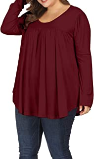 ec43d62114c14 Allegrace Women Plus Size Casual Pleated Long Sleeve Blouse Top Round Neck  Flowy T Shirts