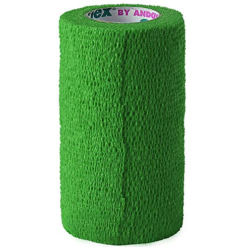 Andover Co-Flex 4 inch Bandage Wrap for Pets | Green | 5 Yard Roll