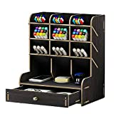 Portapenne in legno portapenne multifunzione organizer da scrivania per cancelleria o portapenne – grande capacità (Nero-A)