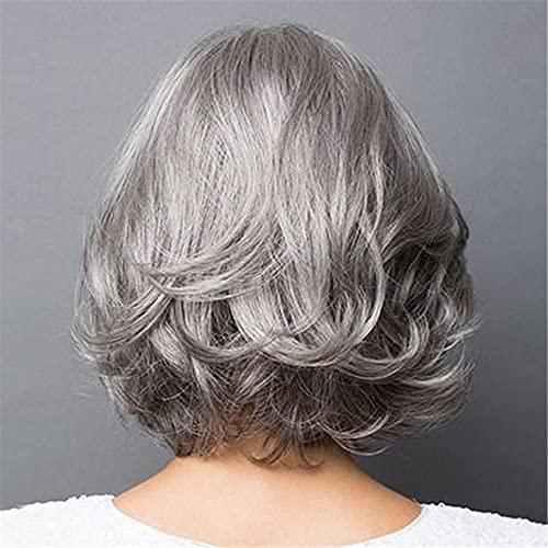 ZSDFW Vieilles Femmes d'âge Moyen Perruque Courte Poids léger Naturel Usage Quotidien Cheveux pour mère Grand-mère Grand-mère Reine