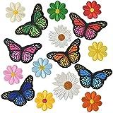 24 parches bordados para planchar o coser en ropa, vestidos, vaqueros, diseño de flores y mariposas, colores vivos, para niños
