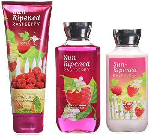 Bath and Body Works Sun Ripened Raspberry Body Cream, Shower Gel and Body Lotion Gift Set