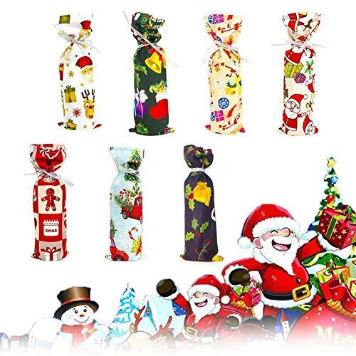 Crazy rice 7PCS Funda Protectora para Botella de Vino, impresión navideña, Botella de Vino, Funda Protectora para champán, Conjunto de decoración de Mesa, Boda, Suministros para Fiestas