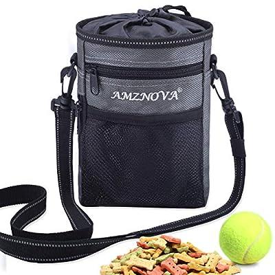 AMZNOVA Dog Treat Pouch, Large Dog Training Treat Bag, Multi-Purpose, Convenient to Carry Toys, Kibble, Treats, Grey