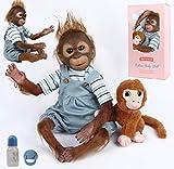 ANTBOAT Reborn Mono muñeca Silicona Suave Vinilo Reborn bebé niño 20 Pulgadas 50cm Hecho a Mano de Realista Reborn Doll