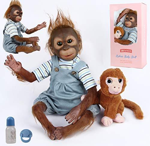 antboat Reborn AFFE Jungen 50 cm 20 Zoll Weiches Silikon Vinyl Reborn Puppe Lebensecht Neugeborene Echte AFFE Puppe Geeignet für Kinderspielzeug über 3 Jahre