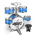 WZHZJ Jazz Drum Set - 5 Tambores, platillos, Silla, Pedal de Bombo, heces, Instrumento de introducción for desarrollar la Creatividad de los niños (Color : Blue)