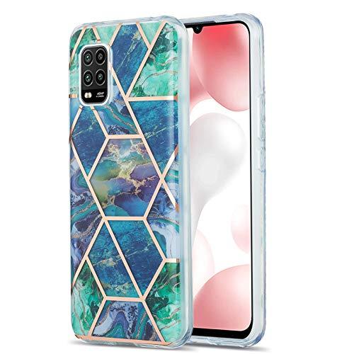 Fundas para Xiaomi Mi 10 Lite,Caso de TPU de patrón de mármol (Azul-verde)