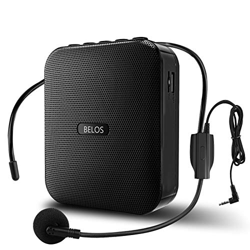 Voice Amplifier BELOS Portable Rechargeable Mini Speaker with Wired Microphone Headset and Waistband, Support Record, MP3 TF Card for Teachers, Coaches, Tour Guide, Classroom, Outdoors, Elderly