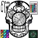 Skeleton RGB LED Pilot Reloj de pared para mando a distancia, disco de vinilo moderno decorativo para regalo de cumpleaños