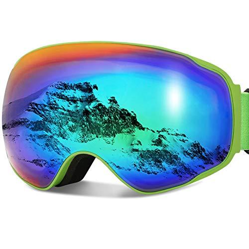 JOJO LEMON - anteojos de esquí y snowboard para hombres, mujeres y jóvenes, protección 100% UV400, antivaho con lente esférica desmontable