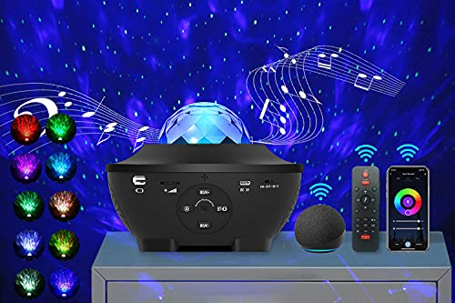 Star Light Projector for Bedroom, Smart Galaxy Projector, Bluetooth Music Speaker Starry Night Light Projector, Ocean Wave Projector with Timer, Sky Ceiling Light Projector Laser Party Stage Lights