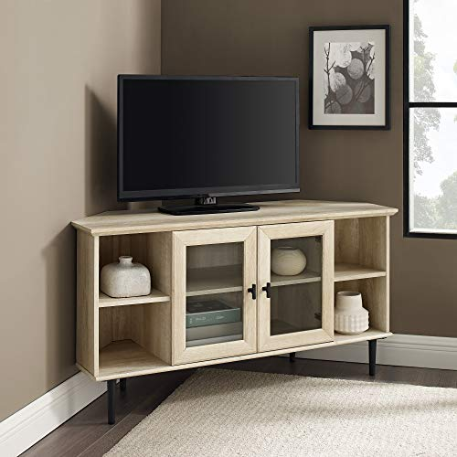 """Walker Edison Modern Glass and Wood Universal Corner Stand with Open TV's up to 55"""" Flat Screen Living Room Storage Entertainment Center, 48 Inch, White Oak"""