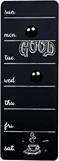 Space Art Deco - 16.1 x 5.9 in Chalkboard Weekly Day Planner Organizer (Magnetic) - Black - 2 Magnets - Time Calendar, Message, Menu - Memo Board for Family Home, Kitchen, Room - Dry Chalk Use Only