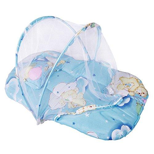 Bluelover Opvouwbaar kinderbed van katoen, gewatteerd, matras voor bedden, muggennet