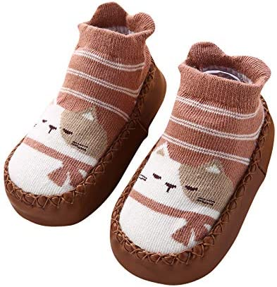 Cute Animal Anti-Slip Mocassin Style Cotton Floor Socks for 12-18 Month Baby Boy Girl Toddlers