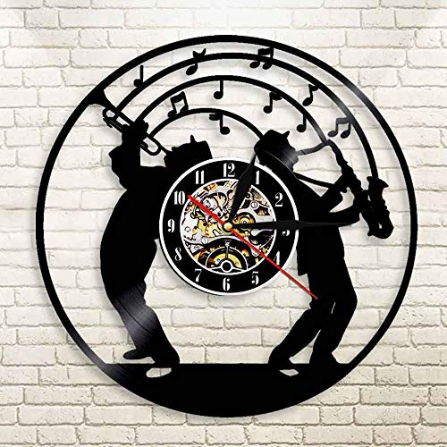 Njuxcnhg Schallplatte Wanduhr-Jazz Musik Kunst Vinyl Wanduhr mit Led Licht Saxophon Design beleuchtet Uhr Art Jazz Band Musik Liebhaber Geschenk