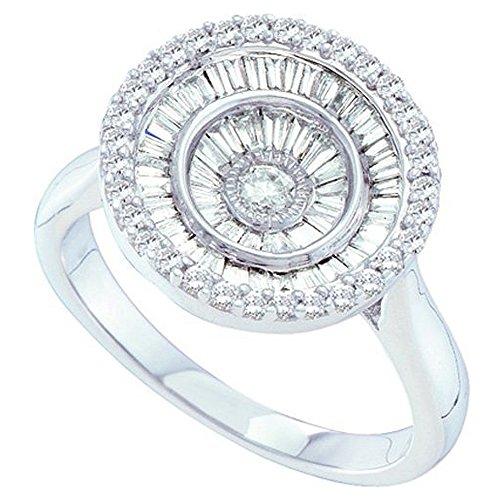 0,78Carat (quilate) 14K oro blanco redondo y Baguette corte blanco diamante–anillo de moda mano derecha 3/4CT