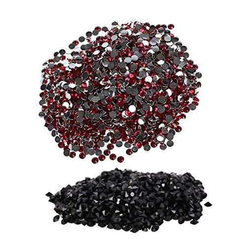 Lot de 2000 strass en acrylique à dos plat (rose rouge) et 1440 micro-diamants à faire soi-même