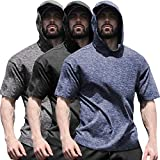 COOFANDY Men's Gym Workout Hooded Performance Base Layer Fitness Shirt 3 Pack