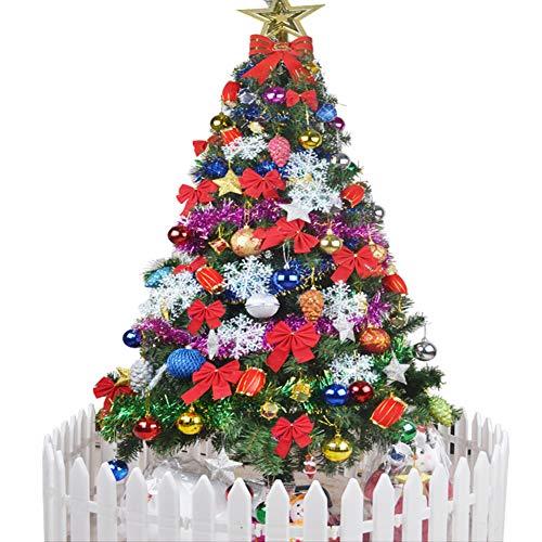 YUMUO Pre-beleuchtete Künstliche Weihnachtsbaum, Wunderschöne Christbaum Mit Lichtern Baumrock Und Zaun Für Weihnachten Unter Dem Motto Party Dekoration-grün 210cm