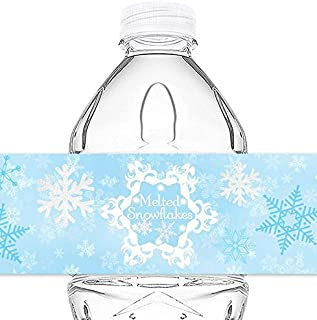 Snow Princess Bottle Wraps - 20 Snowflake Water Bottle Labels - Snowflake Decorations - Made in the USA