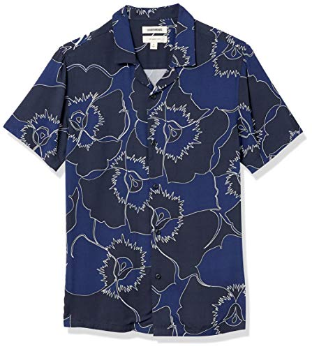 Goodthreads Camisa Hawaiana de Manga Corta con Cuello de Campamento, Azul, Pensamiento, S