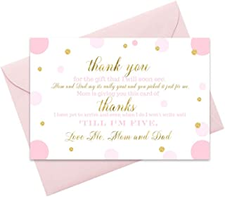Pink and Gold Baby Shower Thank You Cards (15 Pack) with Envelopes