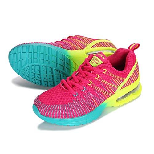Zapatillas Deportivas para Correr para Mujer, Transpirables, cómodas, con Cordones, para Correr al Aire Libre, Caminar, Zapatillas Deportivas, Zapatillas de Malla Ligeras, Rosa roja, 36 Uniquelove