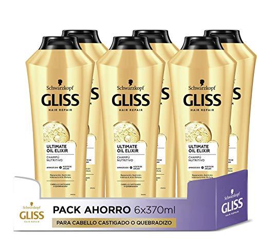 Gliss - Champú para pelo castigado o quebradizo - Ultimate Oil Elixir - 6uds de 370ml (2.220ml) – Gama Nutrición
