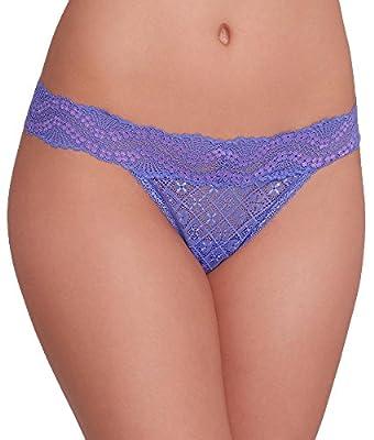 Maidenform Women's All Lace Thong Panty, Waterfall Purple/Fuchsia Feather Cross Dye, One Size from Maidenform Women's IA - Panties