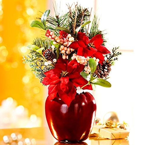 Unbekannt TRI Gesteck Christstern, Weihnachtsdeko, Weihnachtsgesteck, Adventsgesteck, Kunstblumen, Kunstbeeren, Kunststoff, Polyester, 35 x 23 x 23 cm
