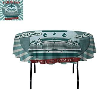 DouglasHill Retro Printed Tablecloth Vintage Graphic Design for a Car Wash Sign Commercial with Aged Classic Retro Arsty Desktop Protection pad D70 Inch Red Teal