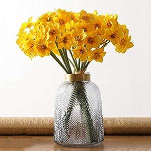 Silk Flower Arrangements BELUPAID 12 Pcs Artificial Daffodils Flowers, Yellow Artificial Narcissus Bouquet Fake Silk Spring Flower Arrangement for Home Wedding Decor