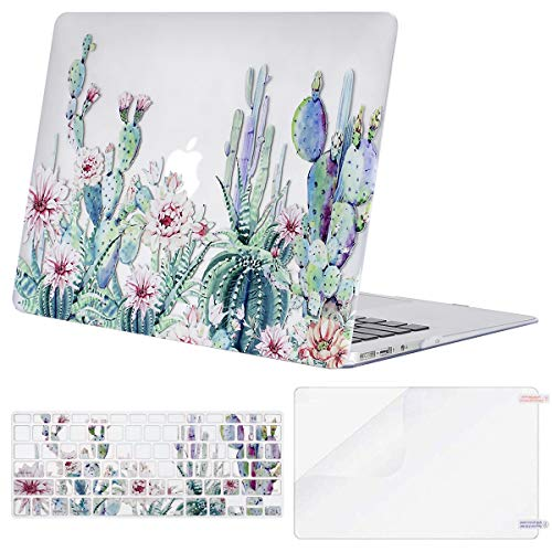 MOSISO MacBook Air 13 inch Case (A1369 & A1466, Older Version 2010-2017 Release), Plastic Pattern Hard Case&Keyboard Cover&Screen Protector Only Compatible with MacBook Air 13, Clear Base Cactus