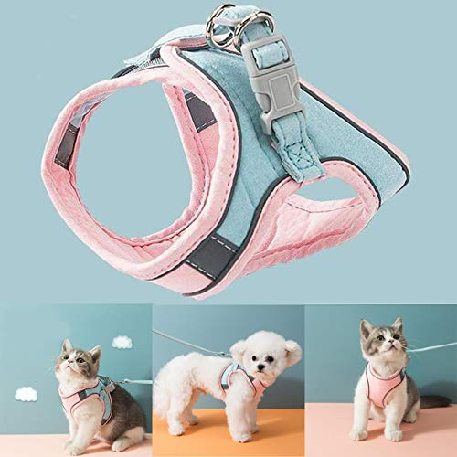 gregrr Cat Vest Harness and Leash Set to Outdoor Walking Cat and Small Dog Harness Soft Mesh Harness Adjustable Cat Vest Harness with Reflective Strap Comfort Fit (S)