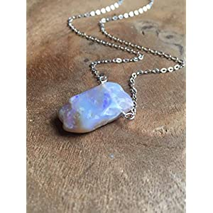 Raw Opal Necklace 16 Inch Sterling Silver October Birthstone Jewelry Gift For Women
