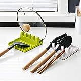 /A 2 vassoi per cucchiai antiscivolo, verde e bianco, senza BPA, per utensili da cucina e coperchio in pentola, per posate, antiscivolo, resistenti al calore