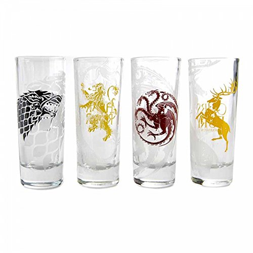 Game of Thrones Gläser 4er Set Stark Targaryen Lannister Baratheon Wappen Shot Glasses 10cl