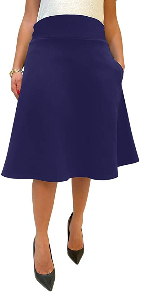 A Line Flare Skirts for Women - Skater Midi Skirt with High Waist & Pockets