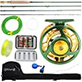 Sougayilang Fly Fishing Rod Reel Combos with Lightweight Portable Fly Rod and CNC-machined Aluminum Alloy Fly Reel,Fly Fishing Complete Starter Package from Sougayilang