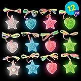 12 LED Kunststoff Blinklichter Halsketten Anhänger Herz unc Sterneformen - Verschiedene Farben -...