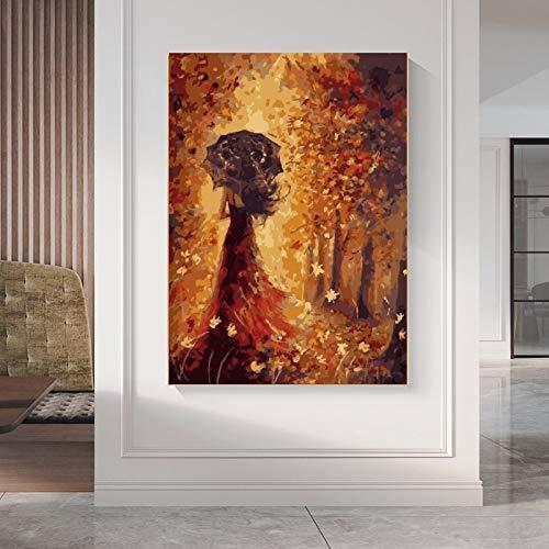 tzxdbh esdoornblad linnen olieverfschilderij landschap figuur linnen woonkamer schilderij decoratie 70X90 cm Met frame