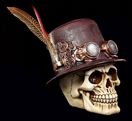 Steampunk Totenkopf Figur mit Hut und Feder - Schädel Skull Totenschädel Gothic Deko