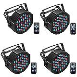 Uking 4 Pcs Luz de Escenario Par,36 LED Par RGB DMX512 Luces Discoteca con Sonido Activado Control Remoto Modo para L DJ Discoteca Bar