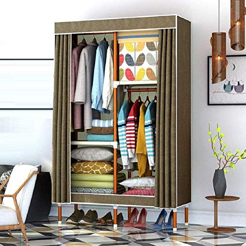 GZZ Guo Home Storage Cabinet Home Bedroom Lockers, 25Mm Steel Frame Skeleton, Modern Minimalist Style Wardrobe, Poliéster y Cotton Fabric Armario portátil, A6,43 * 67 * 18.5Inch,43 * 67 * 18.5 pulgad