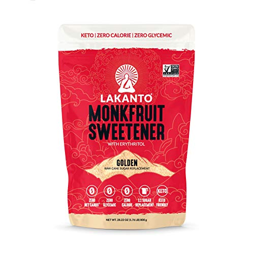 Lakanto Monkfruit Sweetener, 1:1 Sugar Substitute, Keto, Non-GMO (Golden - 1.76 lbs)