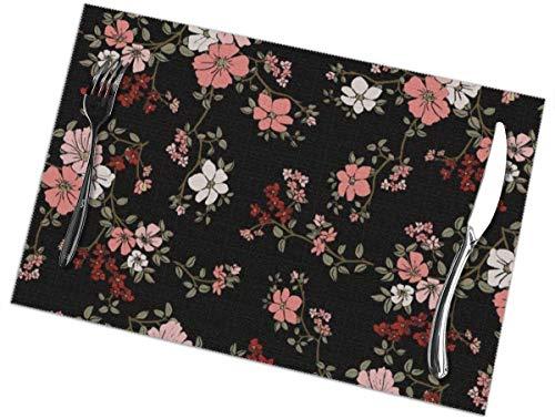 Sunwei firma Placemats voor eettafel set van 6,Placemats voor eettafel set van 6Seamless Floral In Vector tafelkleed 45X30 CM
