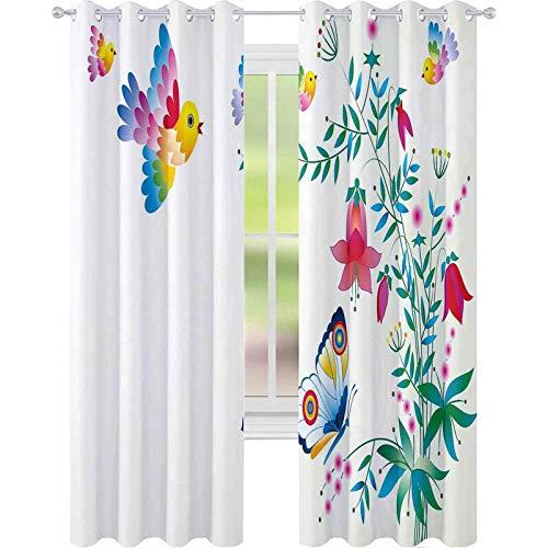 Cortinas opacas con ojales, ilustración artística de campanario con pájaros, mariposas, flores, colores de verano, 226 x 172 cm, cortina de oscurecimiento para habitación de niños, multicolor